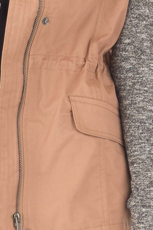 Deep Blush Hooded Jacket with Grey Knit Contrast detail