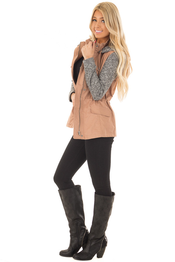 Deep Blush Hooded Jacket with Grey Knit Contrast side full body