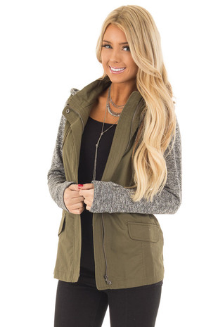 Olive Hooded Jacket with Grey Knit Contrast front close up