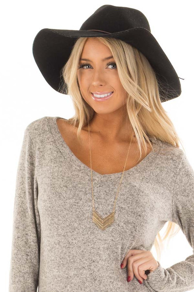 Gold Necklace with Chevron Pendant