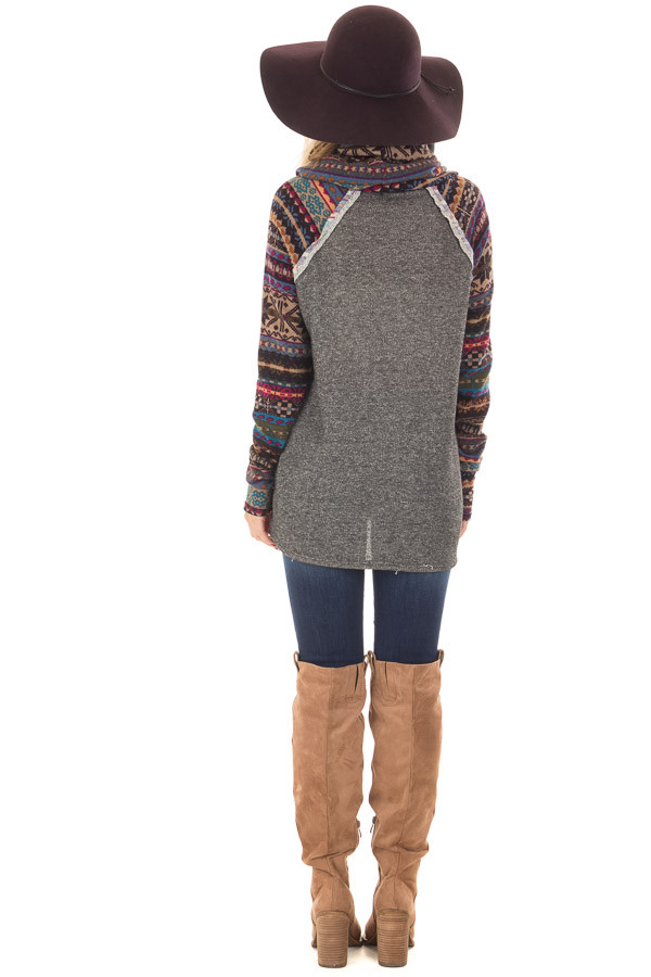 Charcoal Cowl Neck Sweater with Pattern Contrast back full body