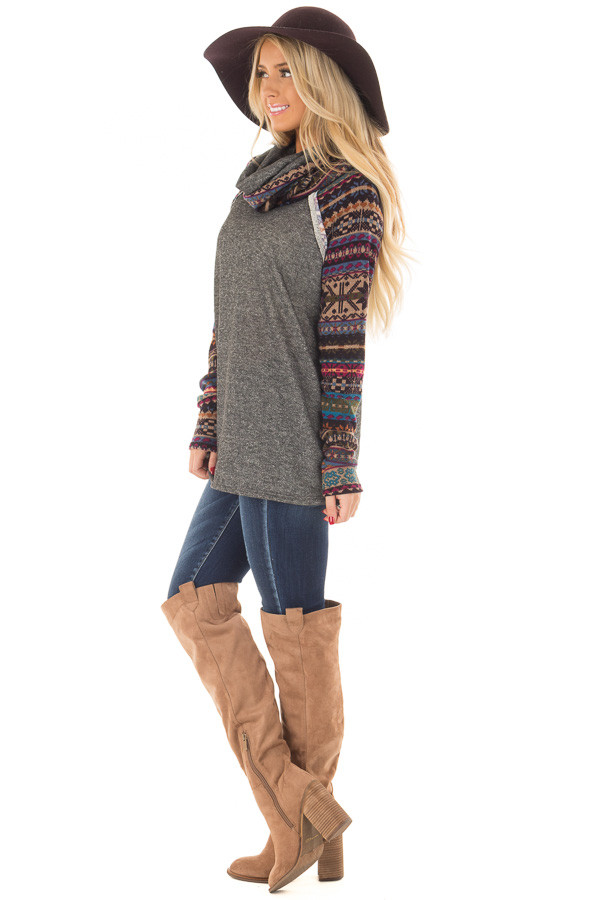 Charcoal Cowl Neck Sweater with Pattern Contrast side full body