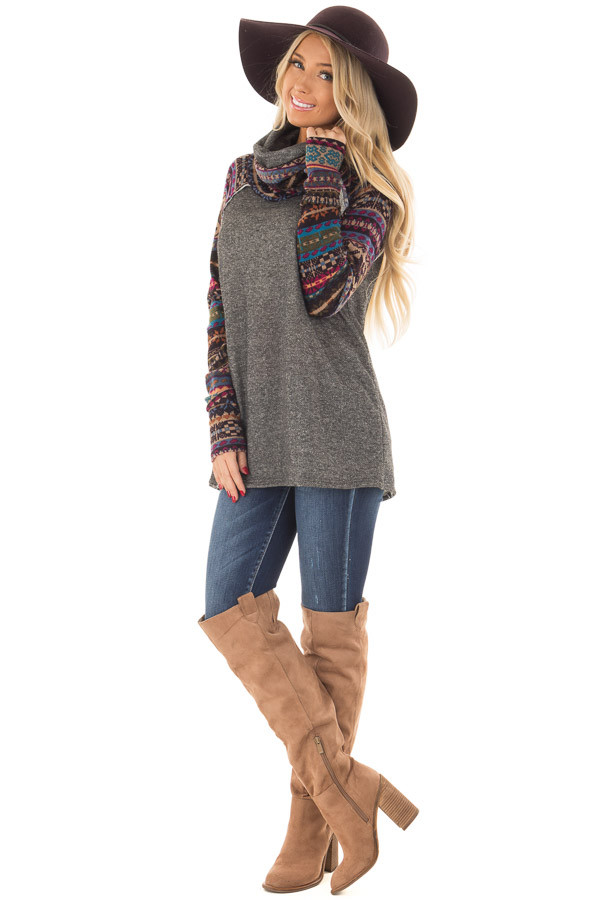 Charcoal Cowl Neck Sweater with Pattern Contrast front full body
