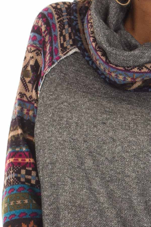 Charcoal Cowl Neck Sweater with Pattern Contrast detail