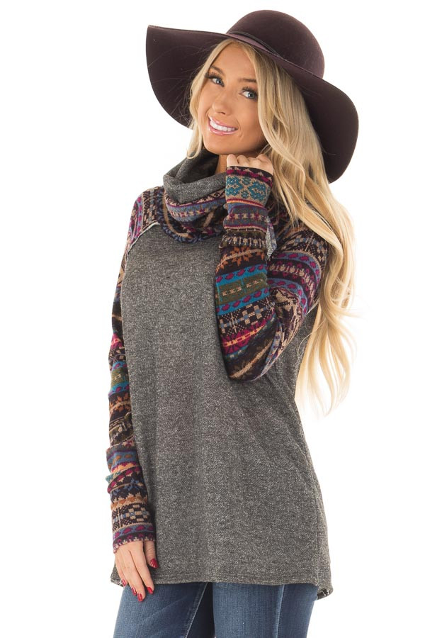 Charcoal Cowl Neck Sweater with Pattern Contrast front close up