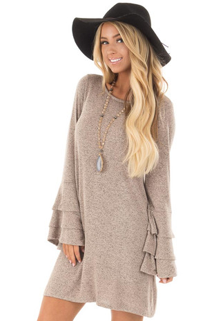 Taupe Two Tone Dress with Tiered Bell Sleeves front close up