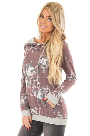 Burgundy and Charcoal Floral Print Hoodie front close up