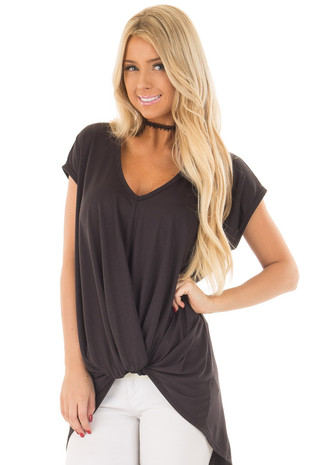 Black Short Sleeve Hi Low Top with Twist Front Detail front close up