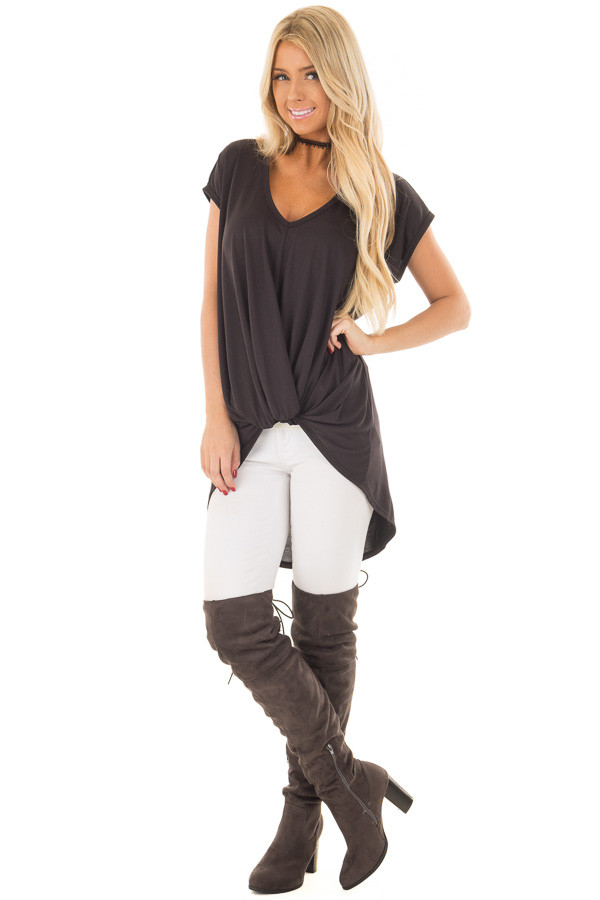 Black Short Sleeve Hi Low Top with Twist Front Detail front full body