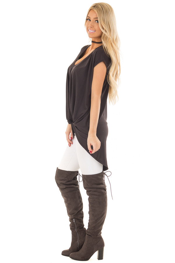 Black Short Sleeve Hi Low Top with Twist Front Detail side full body