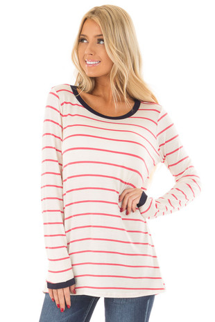 Ivory and Rose Striped Tee with Navy Contrast front close up