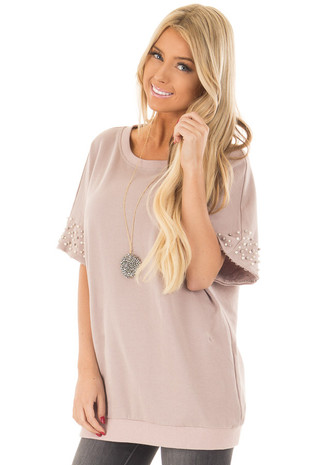 Mauve Short Sleeve Top with Pearl Sleeve Details front close up