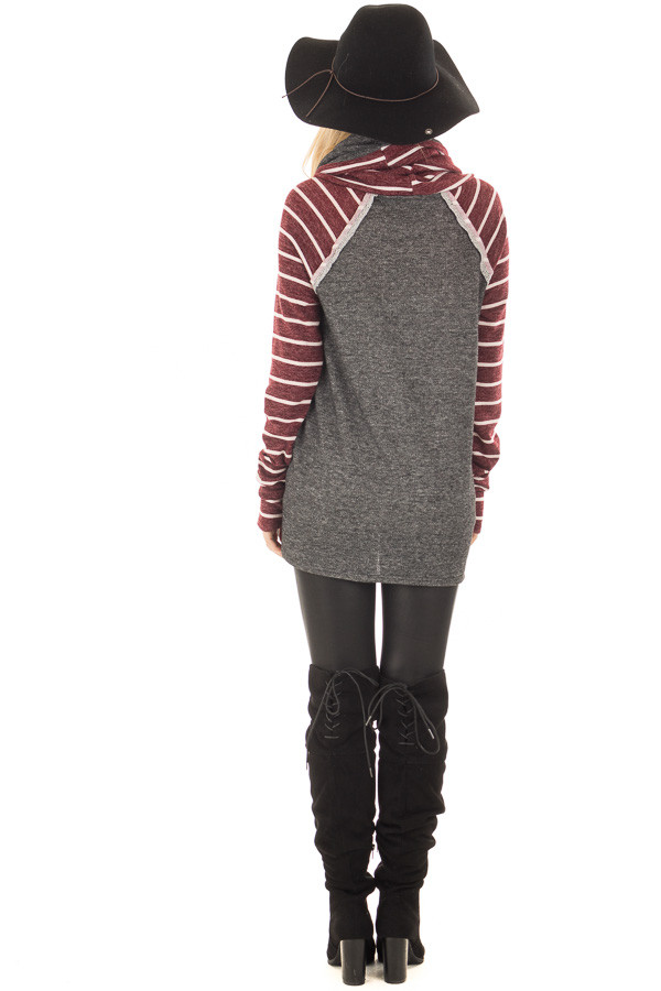 Charcoal Cowl Neck Sweater with Burgundy Stripe Contrast back full body