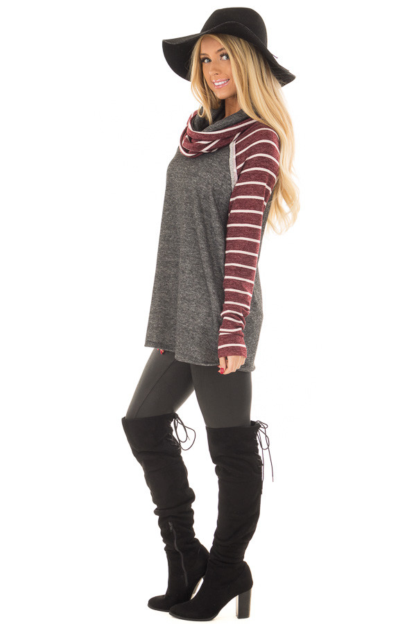 Charcoal Cowl Neck Sweater with Burgundy Stripe Contrast side full body