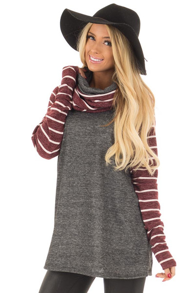Charcoal Cowl Neck Sweater with Burgundy Stripe Contrast front close up