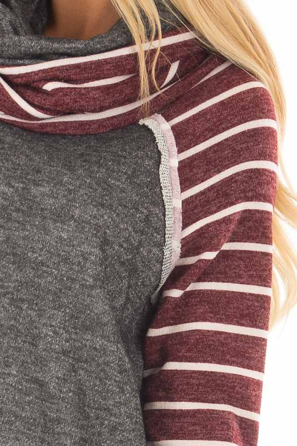 Charcoal Cowl Neck Sweater with Burgundy Stripe Contrast detail