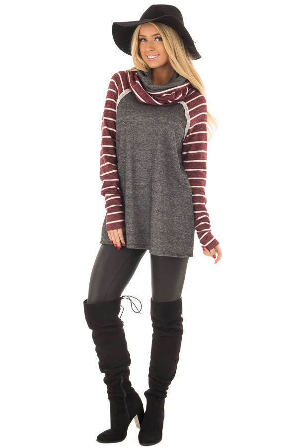 Charcoal Cowl Neck Sweater with Burgundy Stripe Contrast front full body