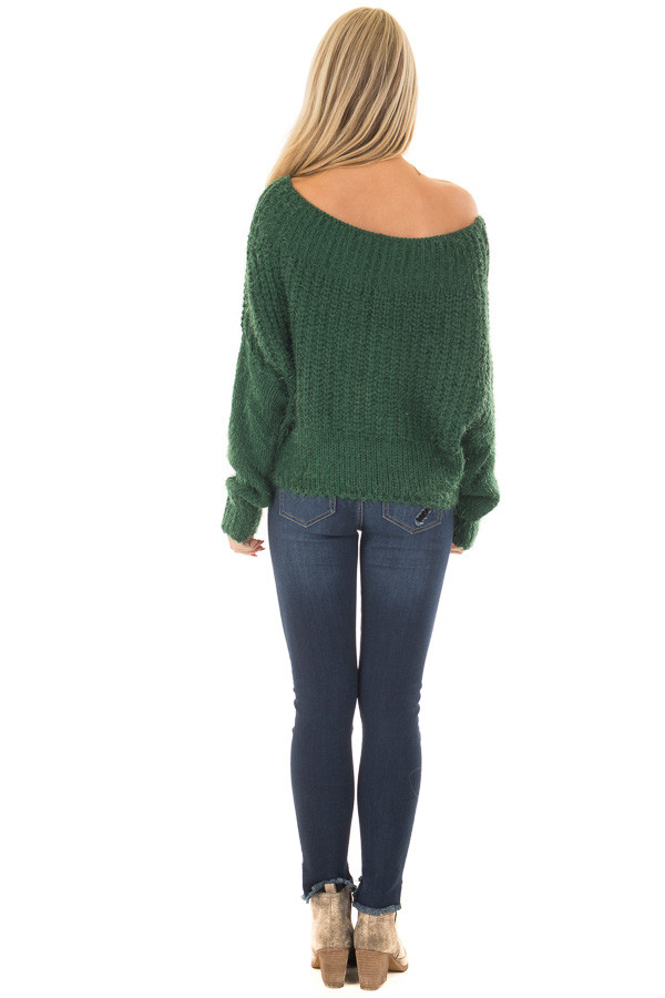 Hunter Green Off the Shoulder Long Sleeve Sweater back full body