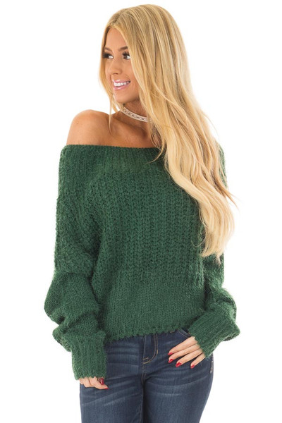 Hunter Green Off the Shoulder Long Sleeve Sweater front close up