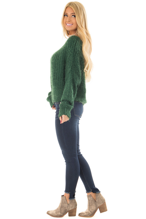 Hunter Green Off the Shoulder Long Sleeve Sweater side full body