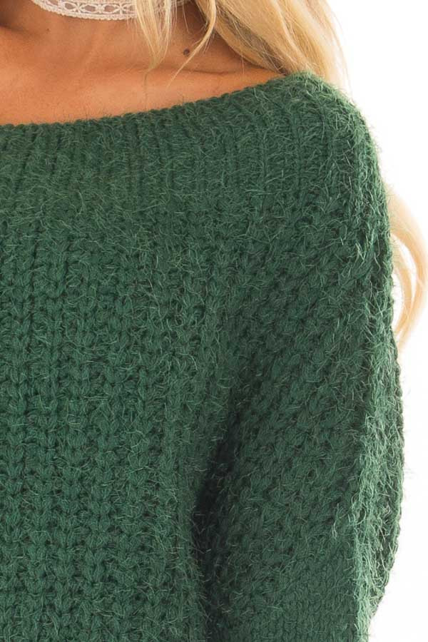 Hunter Green Off the Shoulder Long Sleeve Sweater detail