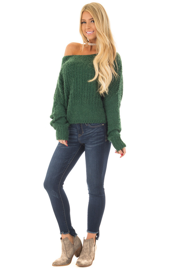 Hunter Green Off the Shoulder Long Sleeve Sweater front full body
