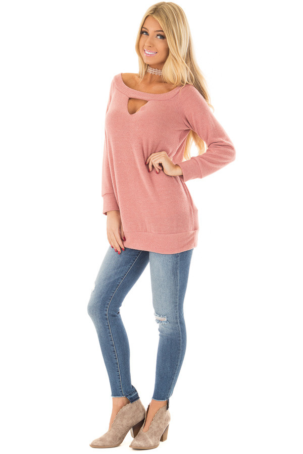 Blush Off the Shoulder Top with Chest Cutout front full body