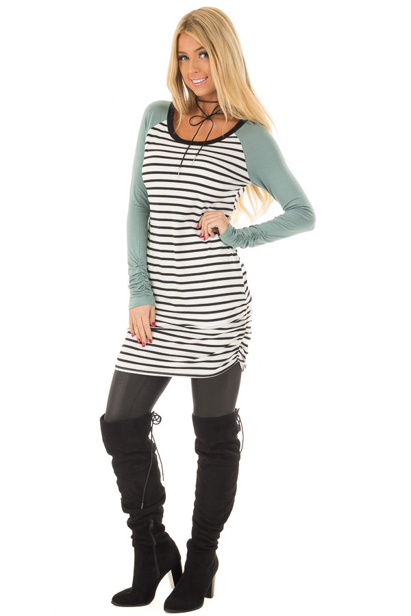 Sage Raglan Tunic with Stripe Contrast front full body