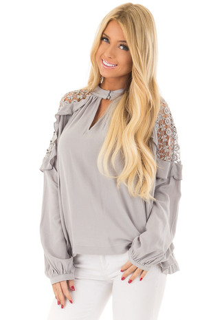 Stone High Neck Ruffle Top with Sheer Lace Detail front close up