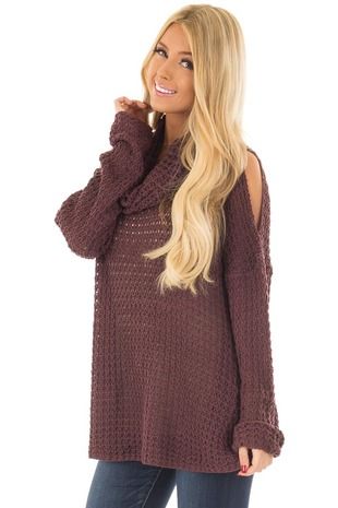 Plum Open Knit Cold Shoulder Cowl Neck Sweater front close up