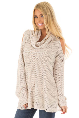 Oatmeal Open Knit Cold Shoulder Cowl Neck Sweater front close up