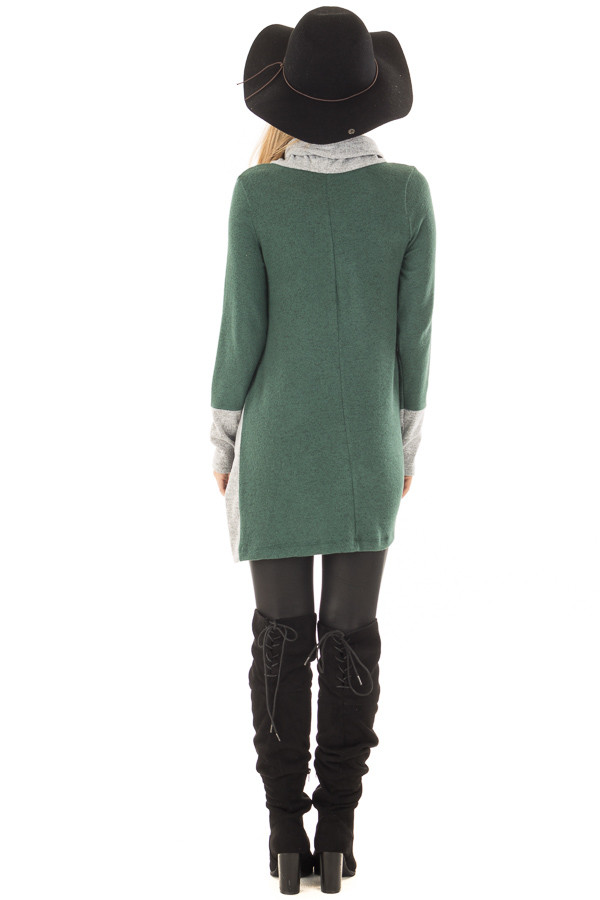 Emerald Two Tone Cowl Neck Top with Split Hem back full body