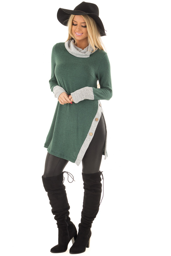Emerald Two Tone Cowl Neck Top with Split Hem front full body