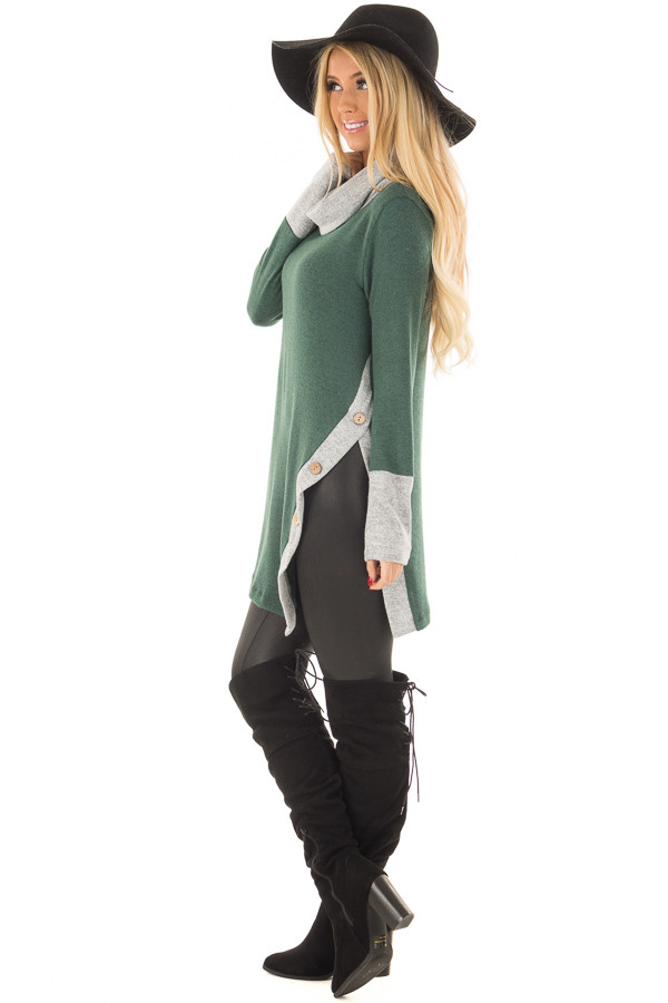 Emerald Two Tone Cowl Neck Top with Split Hem side full body
