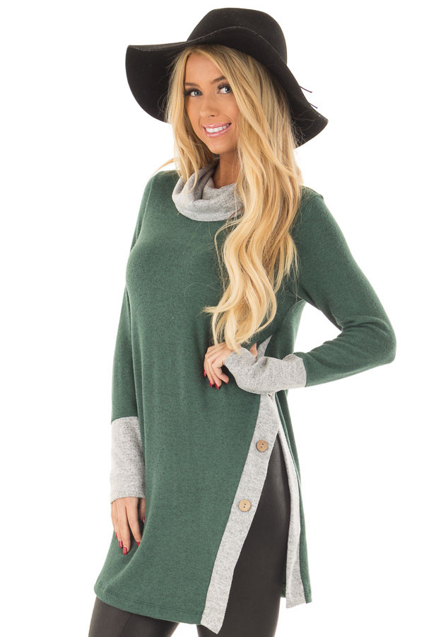 Emerald Two Tone Cowl Neck Top with Split Hem front close up