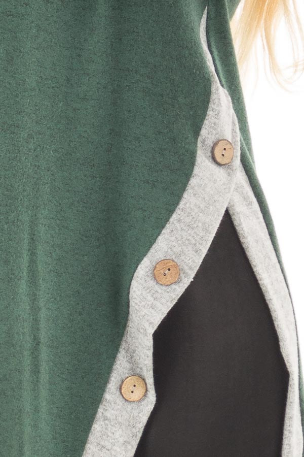 Emerald Two Tone Cowl Neck Top with Split Hem detail