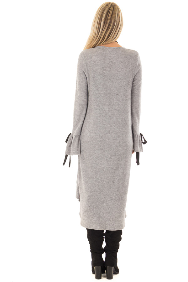 Heather Grey Long Cardigan with Tie Details on Sleeves back full body