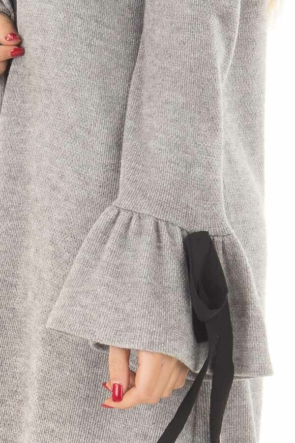 Heather Grey Long Cardigan with Tie Details on Sleeves detail