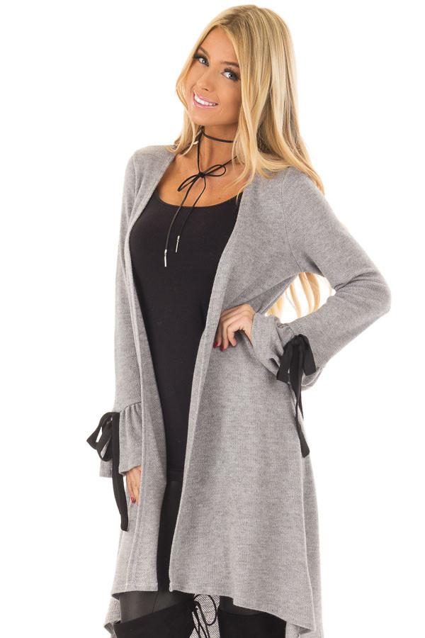 Heather Grey Long Cardigan with Tie Details on Sleeves front close up