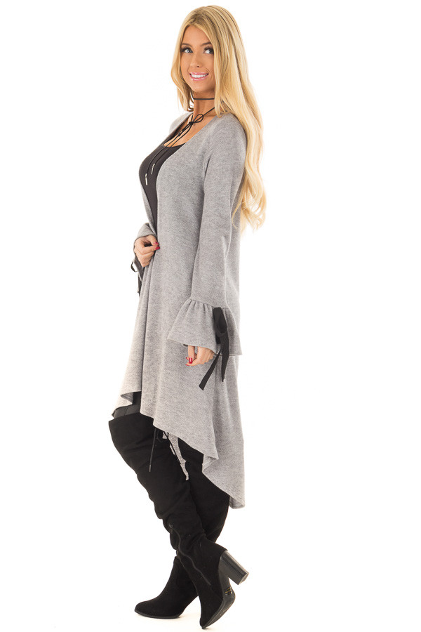 Heather Grey Long Cardigan with Tie Details on Sleeves side full body