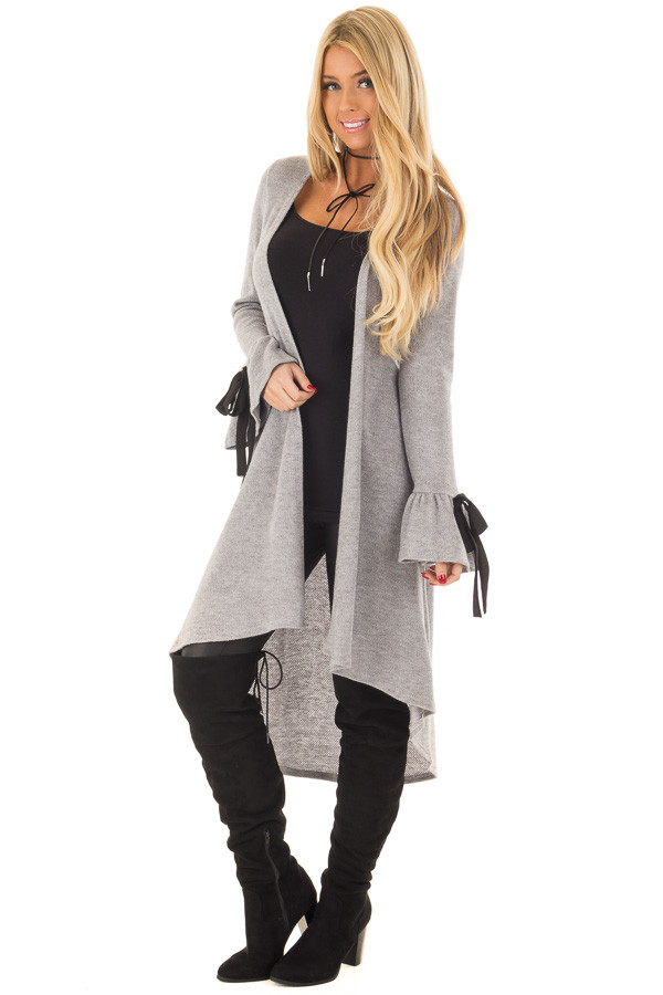 Heather Grey Long Cardigan with Tie Details on Sleeves front full body