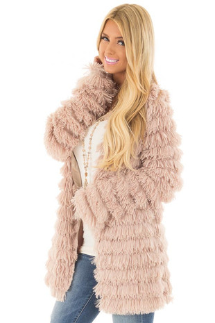 Taupe Faux Fur Jacket with Open Front front close up