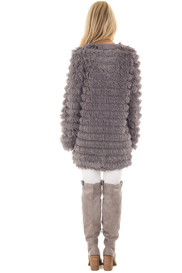 Charcoal Faux Fur Jacket with Open Front back full body