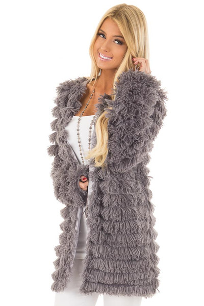 Charcoal Faux Fur Jacket with Open Front front close up