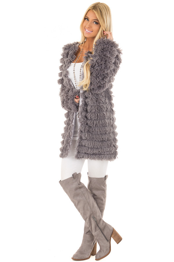 Charcoal Faux Fur Jacket with Open Front front full body