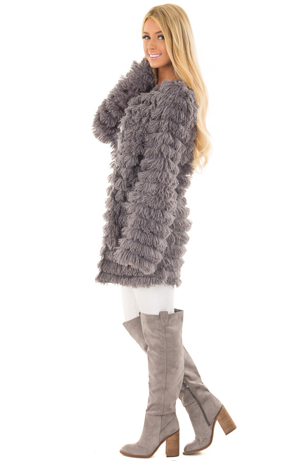 Charcoal Faux Fur Jacket with Open Front side full body