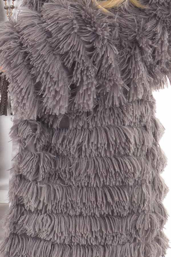 Charcoal Faux Fur Jacket with Open Front detail