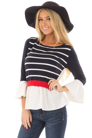 Navy Striped Sweater with Red and White Contrast front close up