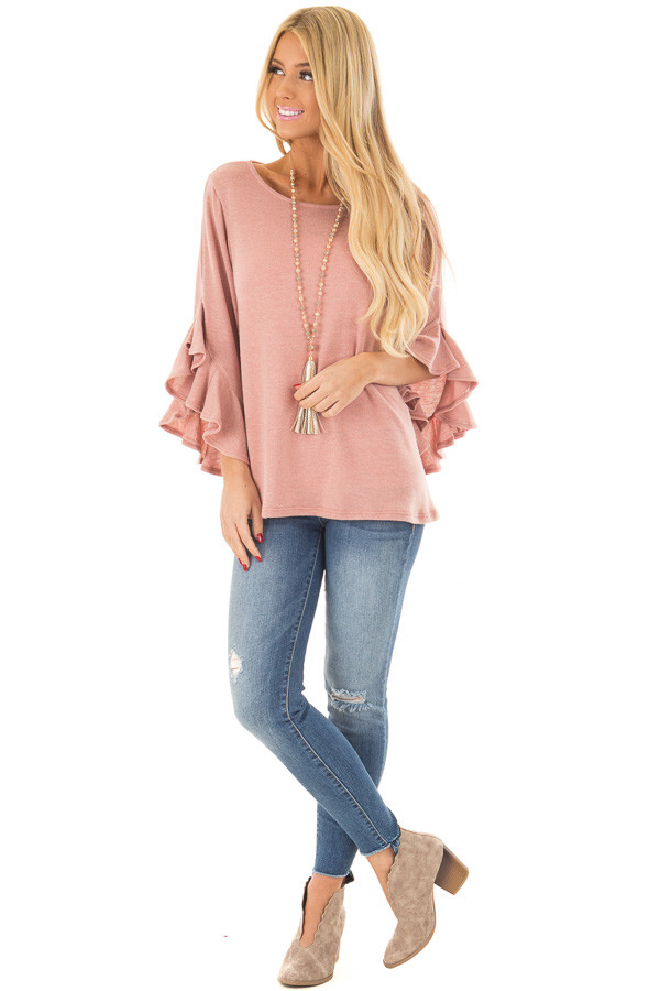 Blush Knit Top with Ruffled Hi Low Sleeves front full body