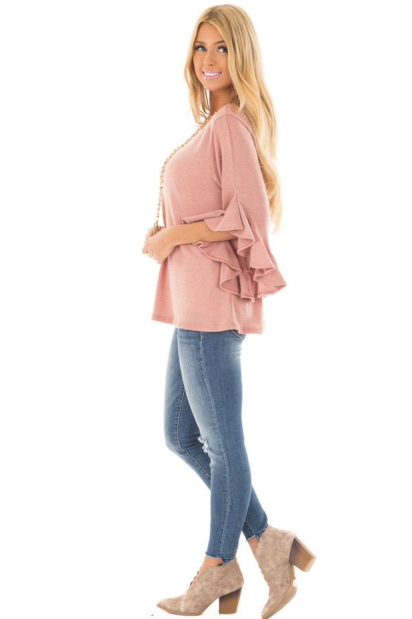Blush Knit Top with Ruffled Hi Low Sleeves side full body